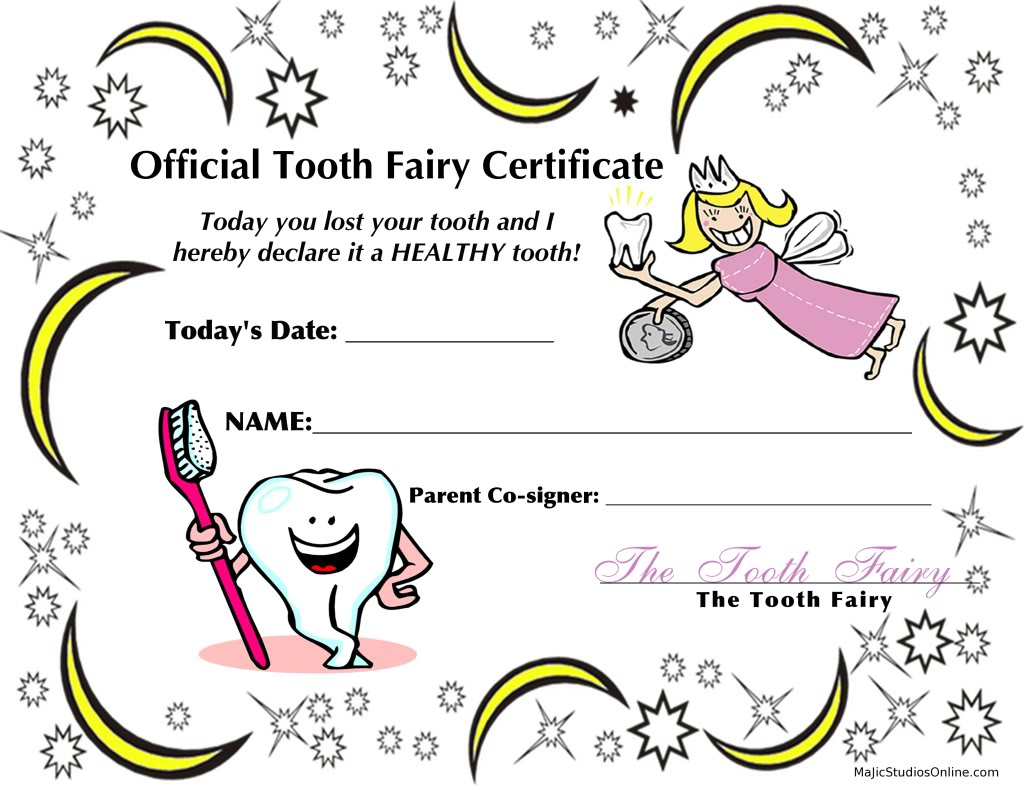 Free Printable Tooth Fairy Certificate Template Free Printable Tooth